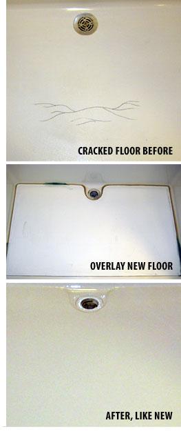 Floor Overlayment For Damaged Bathtub Shower Whirlpool